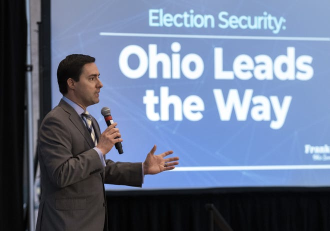 Secretary of State Frank LaRose delivers the keynote address during a conference about election cybersecurity at the Ohio Statehouse in February.