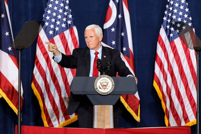 Vice President Mike Pence speaks during the Make America Great Again Event at Lunken Airport in Cincinnati on Wednesday.