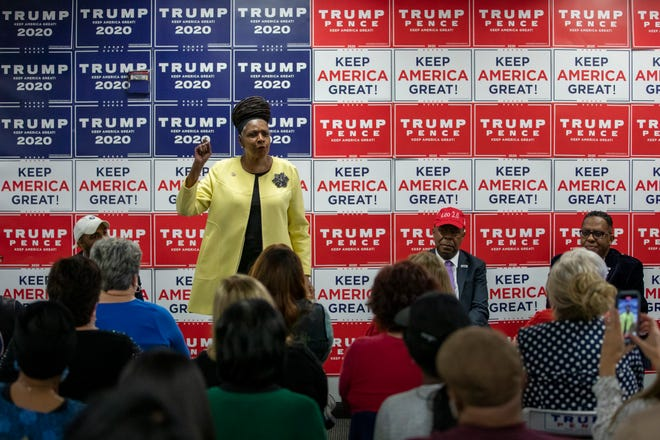 Ohio State Rep. Bernadine Kennedy Kent, D-Columbus, speaks during a Black Voices for Trump rally in Westerville on Wednesday, Oct. 21, 2020.