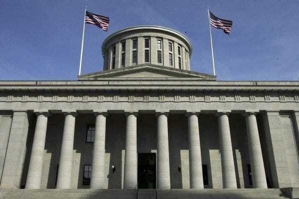 The Ohio Statehouse west portico.