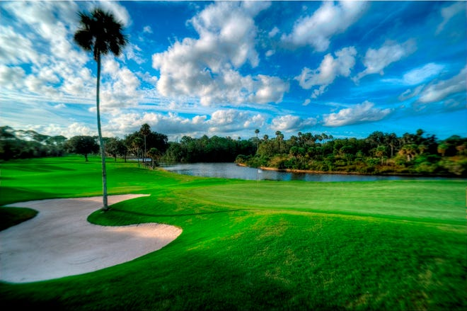 The first hole at Palm Coast's Palm Harbor Golf Club.