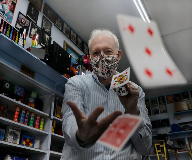 """Daytona Magic owner Harry Allen is pictured in his downtown Daytona Beach shop at 136 S. Beach St. on Thursday, Oct. 22, 2020. """"Since the pandemic began, business is definitely down, but we're sustaining,"""" he said. It makes doing well this coming holiday shopping season more important than ever, he acknowledged. """"We're 54 years in business, but we've never had a situation like this ever."""""""