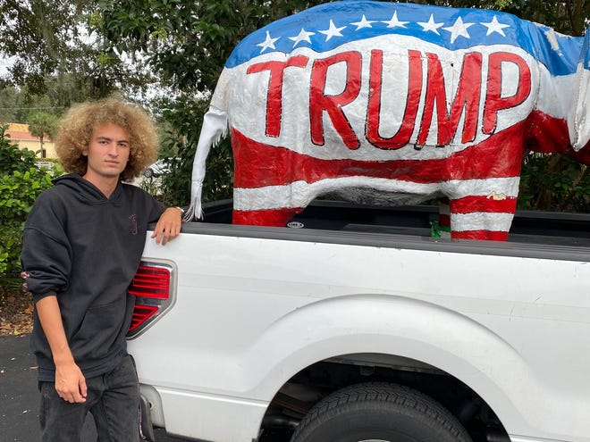 Spruce Creek High senior Tyler Maxwell is suing the school district for infringing on his first amendment rights when it required that he remove the political display in order to park on campus.