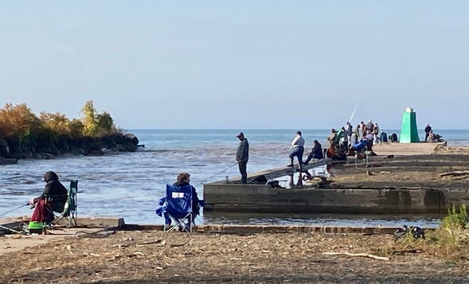 Morning rains brought up the water level at Walnut Creek, and even though anglers weren't fishing in the tributary, they were lined up on the wall at the mouth of Walnut Creek on Thursday afternoon. Fishing on the creek could be ideal on Friday.