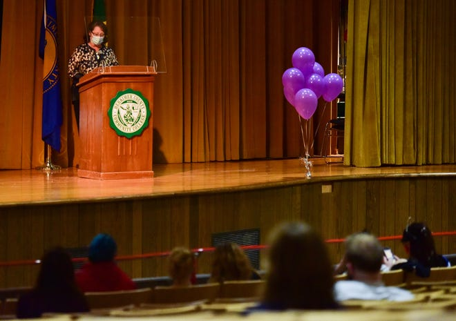 Herkimer County Community College President Cathleen McColgin speaks during a ceremony in honor of graduate Jasmine Finch on Wednesday at the college. Jasmine, a 2020 graduate, was killed in May after she was hit by a car.