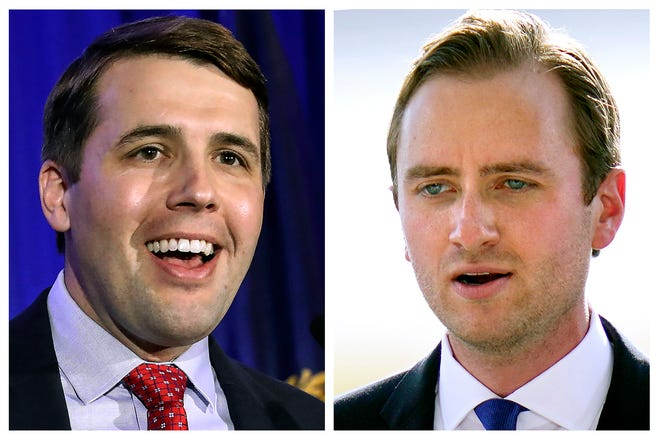 Incumbent U.S. Rep Chris Pappas, D-NH, left, and Republican challenger Matt Mowers, right, candidates in New Hampshire's 1st Congressional District in Nov. 3, 2020, general election.