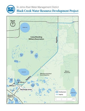 The Black Creek Water Resource Development Project in southwest Clay County involves moving water from Black Creek to a recharge area near Keystone Heights to feed the Floridan aquifer.