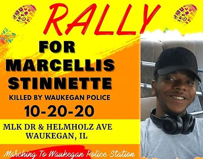 A poster on Thursday's Black Lives Matter march in Waukegan after Marcellis Stinnette was shot and killed by police.