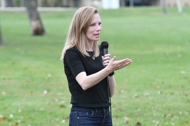 Nicole Galloway, Missouri State Auditor and Democratic nominee for governor, speaks to supporters Thursday at Rotary Park in Kirksville.