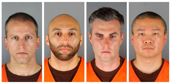 FILE - This combination of June 3, 2020, file photos, provided by the Hennepin County, Minn., Sheriff's Office, shows, from left, Derek Chauvin, J. Alexander Kueng, Thomas Lane and Tou Thao. A Minnesota judge on Wednesday, Oct. 21, 2020, dismissed a third-degree murder charge filed against Chauvin, the former Minneapolis police officer who pressed his knee against George Floyd's neck, but the more serious second-degree murder charge remains. The judge also denied defense requests to dismiss the aiding and abetting counts against the three other former officers, Lane, Kueng and Thao.