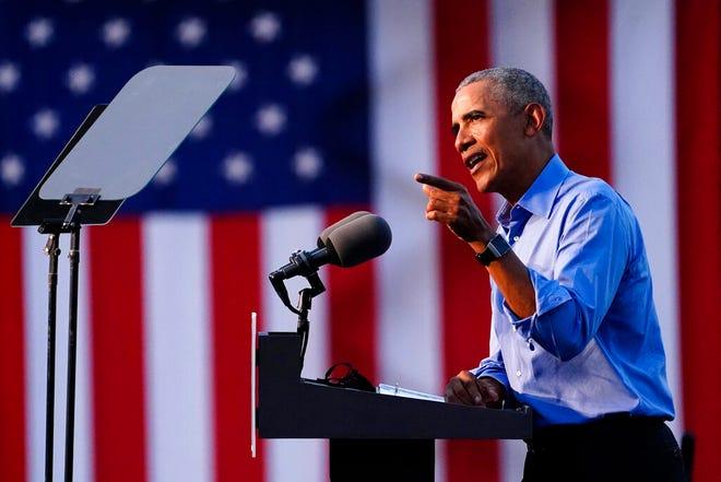 Former President Barack Obama speaks at Citizens Bank Park as he campaigns for Democratic presidential candidate former Vice President Joe Biden, Wednesday, Oct. 21, 2020, in Philadelphia.