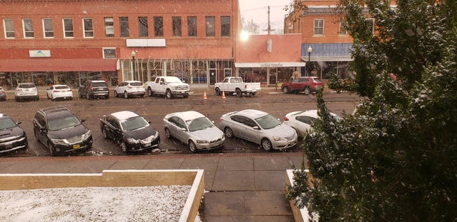 A view of Colorado Avenue on a snowy day in 2019 from just outside the Office of Otero County Commissioners on the second floor of the courthouse in La Junta.  Candidates for Otero County Commissioner District 1 spoke at the Oct. 7 Meet the Candidates Forum in Rocky Ford.