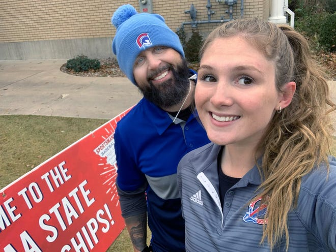 Moberly senior Marin Tadrus takes a selfie photo with coach Jared Van Cleve during the Class 2 girls golf championships held Monday and Tuesday at Meadow Lake Acres Country Club in New Bloomfield. Tadrus scored 10 strokes better on the second day at state and carded a 196 overall to finish tied for 33rd among 75 state qualifiers.