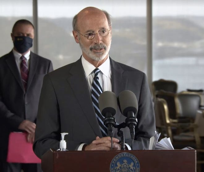 Gov. Tom Wolf announces a plan to waive liquor license fees for commonwealth restaurants and bars in an effort  that he claims could save $20 million for the hospitality industry at LeMont Restaurant in Pittsburgh on Thursday.