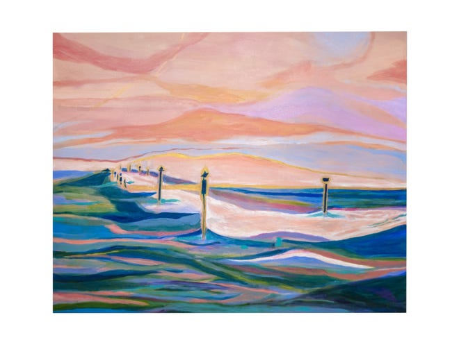The city of Palm Beach Gardens' Art in Public Places program is hosting an exhibition of acrylic paintings by artist Camilla Webster. The paintings will be displayed at city hall and at the Sandhill Crane Golf Clubhouse.