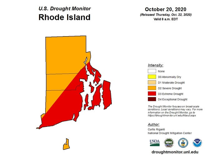 The most recent drought map for Rhode Island shows that about half of the state has improved from extreme to severe drought. (U.S. Drought Monitor)