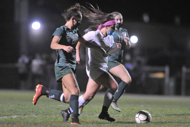 Riley Trudeau (shown in action earlier this year) scored the lone goal in the Cumberland girls soccer team's 1-0 win over Cranston West Wednesday.
