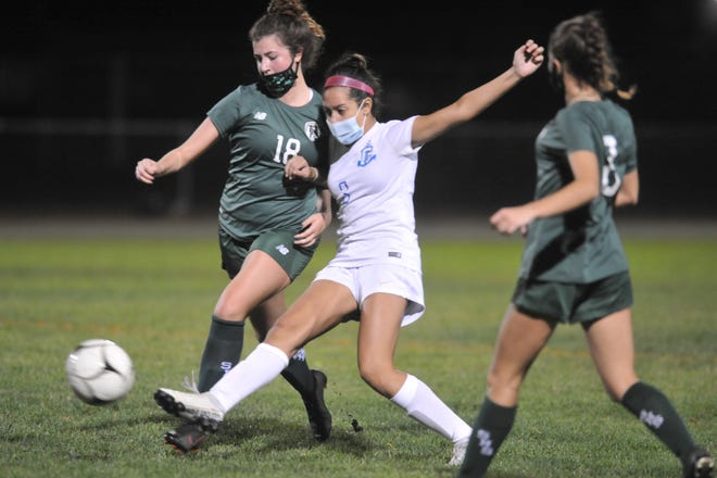 Cumberland's Eden Gutierrez (shown in action from last season) was part of a defensive charge that helped silence the powerful Pilgrim offense in the Clippers' 1-0 win over the Patriots, leaving Cumberland as the lone undefeated team in Division I.