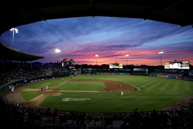 The sun sets on McCoy Stadium in Pawtucket in 2017.