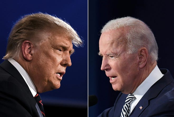 With dueling town halls, President Donald Trump, left, and Joe Biden will clash Oct. 15, 2020, albeit not on the same stage.