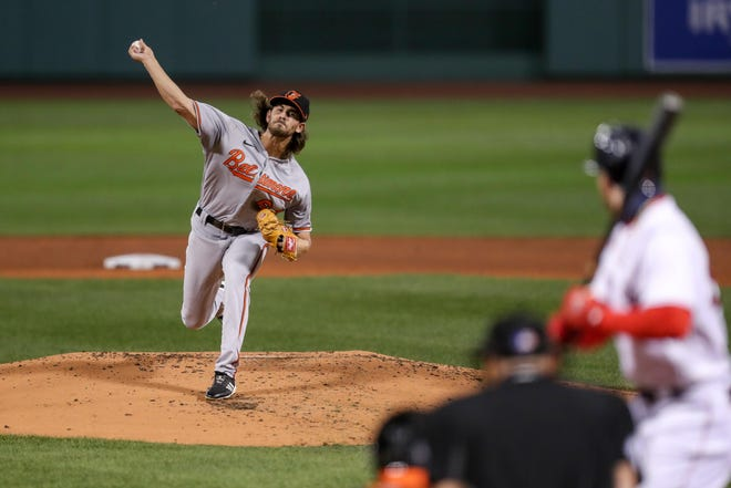 Baltimore Orioles starting pitcher Dean Kremer (64) throws a pitch during the first inning against the Boston Red Sox Sept. 23 at Fenway Park.