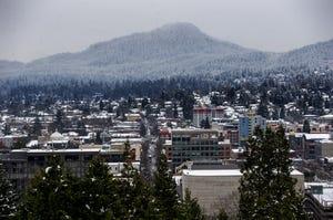The cityscape as seen from Skinner Butte in Eugene.