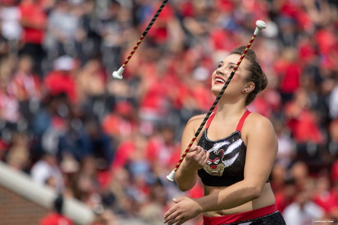 Anita Ney, of Jackson Township, is the feature twirler for the University of Cincinnati's Bearcat Marching Band. Ney won the 2020 Collegiate Fantastic last week. The virtual twirling competition included more than 60 twirlers from 44 universities.