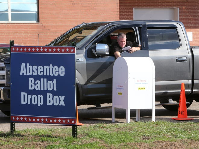 Absentee ballots are dropped off at the Stark County Board of Elections in Canton on Thursday, Oct. 22, 2020. A total of 18% of registered Stark County voters have already cast their ballots in the general election.
