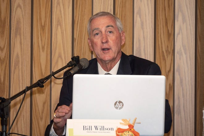 Bill Willson, a candidate for the Seat 2 on the Venice City Council, spoke before a limited audience at the Waterford Sports Club Wednesday, at a hybrid forum that was also webcast via Zoom.