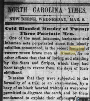 This clipping from an 1864 New Bern paper expresses outrage at the hanging of Union soldiers by General George Pickett in Kinston in 1864.