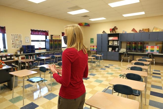 Claymont High teacher Shawna Hupp discusses the difficulties of teaching in an empty classroom.