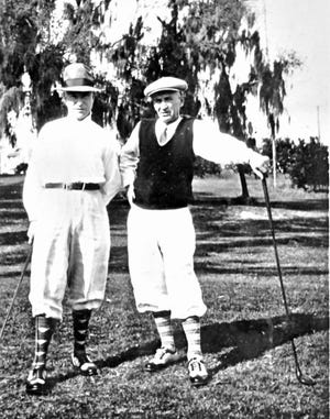 "The Jeffrey Mining Co. held an annual golf tournament at the ""Arlington Hunt and Golf Club,"" which actually was called the Arlington Country Club at the time in 1917. It was renamed as the Aladdin Country Club after it was sold to the Shriners. In 1896, the Arlington Country Club moved into the quarters designed for them by noted Columbus architect Frank Packard. The 2-story clubhouse was on 4 acres and included a track and stable facilities for the riding club. It was due south of present-day No. 10 Arlington Place, and the clubhouse stood on the edge of the bluff facing the valley below. An additional 12 acres had been acquired after 1896 to accommodate the nine-hole golf course. In 1914, Arlington Country Club members were asked to cooperate in the organization of a new 18-hole club and were offered $125 per share for their stock and made first in line for membership in the newly designed Scioto Country Club, which opened in 1916. The Arlington Country Club property was purchased by the Shriners and remained in existence until 1925. The clubhouse survived for some years, sometimes vacant, and sometimes as a private residence."