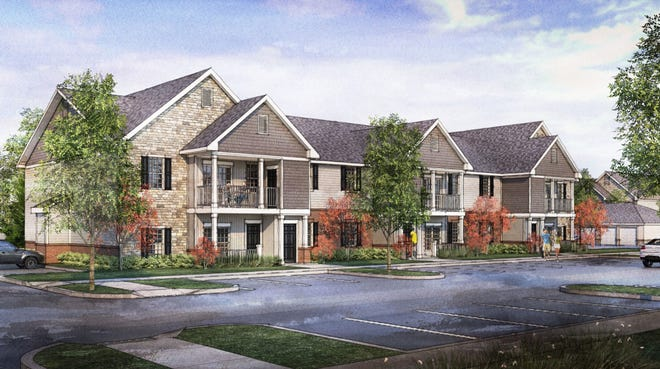 This rendering shows the Reserve at North Farms, a 144-unit multifamily residential development proposed for North Road. Orange Township trustees tabled the proposal until Nov. 16 after nearby residents voiced opposition to the development. Trustees then rejected it unanimously.