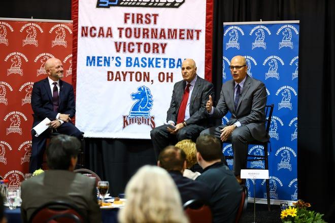 Seth Greenberg (center) and Fairleigh Dickinson basketball coach Greg Herenda (right) at FDU in 2019.
