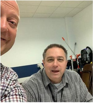 Earl Musick, left, took this selfie photo of him and his friend Bucyrus Postmaster Mike Willacker Wednesday when they met for lunch. Willacker died later Wednesday on his way home from work in Crawford County.