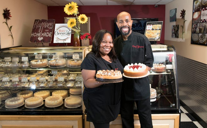 Yhanne and Tiffany Battle, co-owners of Yhanne's House of Cheesecakes, stand in their Clayton cheesecake shop.