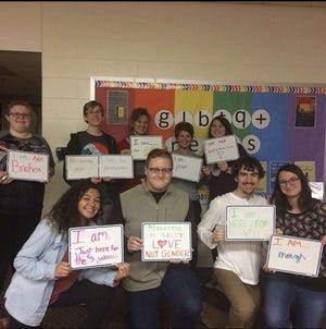In late 2016, Natalie Nelson was inspired to form an accepting environment for LGBT+ students and allies at Union-Scioto High School. As a result, the school's first Gay-Straight Alliance was formed. During a meeting in January 2017, the students wrote affirmations on whiteboards to promote love and acceptance. [Photo Provided by Natalie Nelson]