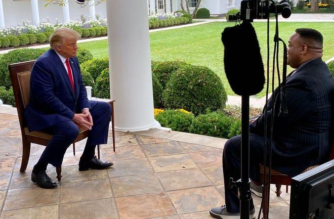 Jason Whitlock (right) interviews President Donald Trump Oct. 21, 2020.