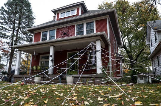Irvington residents decorate their homes in Indianapolis, Wednesday, October 21, 2020. The Historic Irvington Halloween Festival will judge exterior house decorations in the neighborhood on Oct. 26-27.