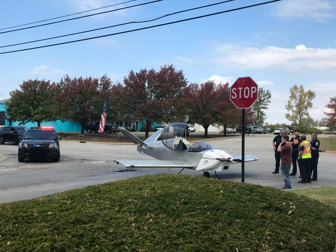 Purdue University graduate student David Tibbo safely landed his single-engine plane on McCarty Lane about 12:15 p.m. Thursday, Oct. 22, 2020.  Tibbo's plane lost power about eight miles east of Lafayette, and he could not glide back to the Purdue Airport, so he touched down on McCarty Lane near the Lafayette 7 Theaters.
