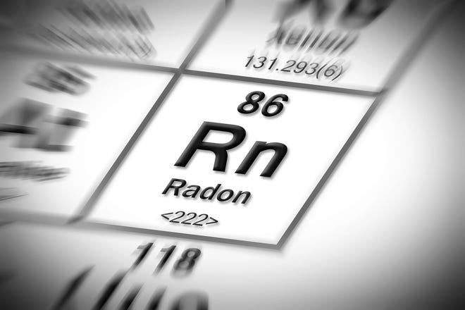 Radon is a colorless, odorless gas that is produced by decaying uranium.