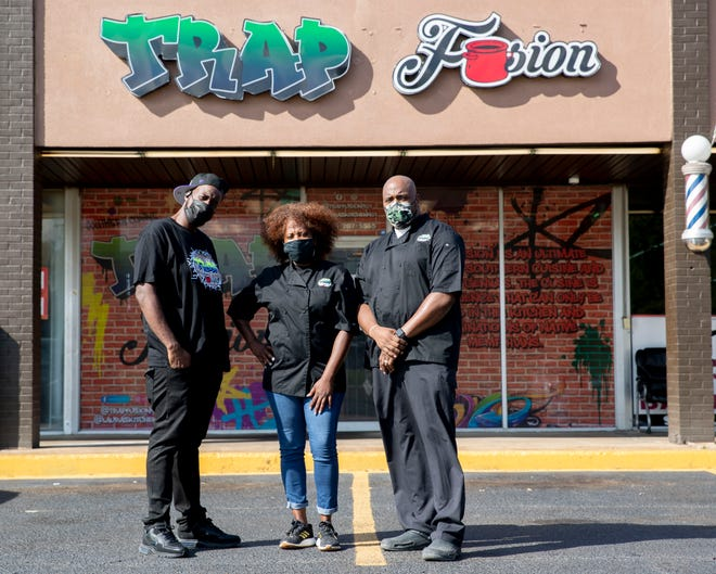Markeith McCoy (from left), Monique Williams and Jason Gardner, co-owners of Trap Fusion, on Thursday, Oct. 22, 2020, in Memphis.