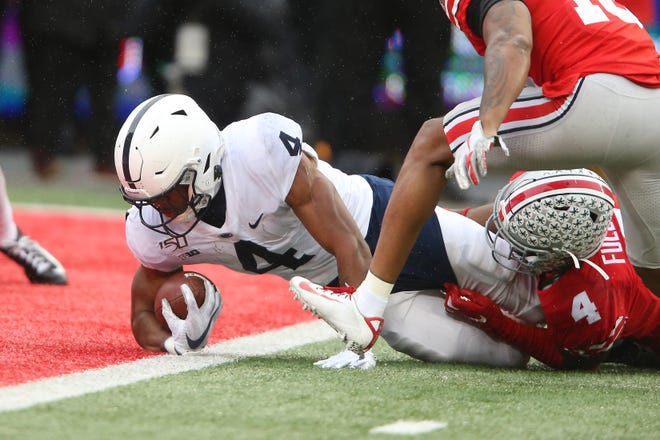 Penn State running back Journey Brown scores a touchdown on an 18-yard run against Ohio State on Nov. 23, 2019, but the Nittany Lions lost, 28-17. The teams meet again Oct. 31.