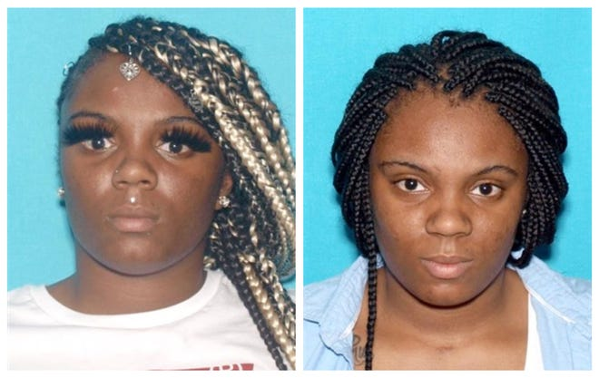 Laquanashaneachia Leach, shown in both photos, is sought in connection with an alleged assault.