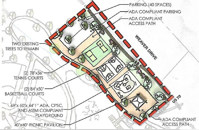Preliminary site plan for proposed phase 1 of Buckner Park master plan.