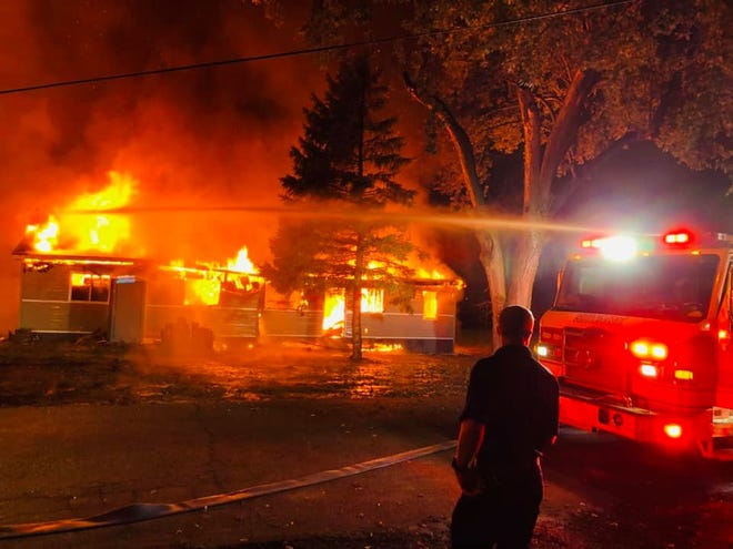 Fire crews responded to a house fire at 23 Showman Ave. in Newark around 5 a.m. Thursday, Oct. 22, 2020.