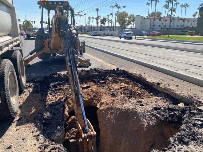 A sinkhole emerged on 19th Avenue north of Northern Avenue on Oct. 22, 2020.