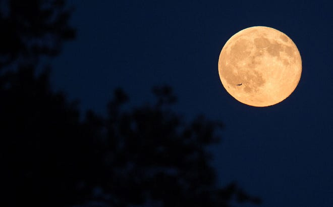 A plane is seen flying in front of the second full moon for the month of July, Friday, July 31, 2015 in Arlington, Va.