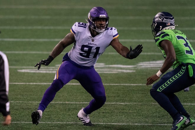 Minnesota Vikings defensive end Yannick Ngakoue is pictured during the second half of an NFL football game against the Seattle Seahawks, Sunday, Oct. 11, 2020, in Seattle. The Seahawks won 27-26. (AP Photo/Stephen Brashear)