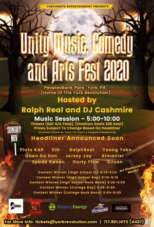 Unity Music, Comedy and Arts Fest 2020 is coming to PeoplesBank Park on Nov. 1